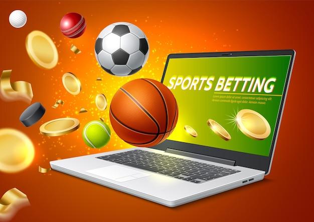Apostas esportivas online com laptop realista com bolas de tênis de basquete e futebol fora do laptop