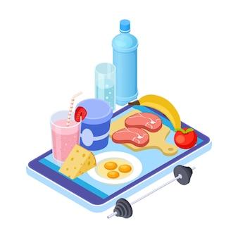 App de dieta saudável. consultor de dieta móvel isométrica. frutas, carne, água - cardápio saudável. dieta saudável em aplicativo de smartphone, ilustração de nutrição de carne saudável