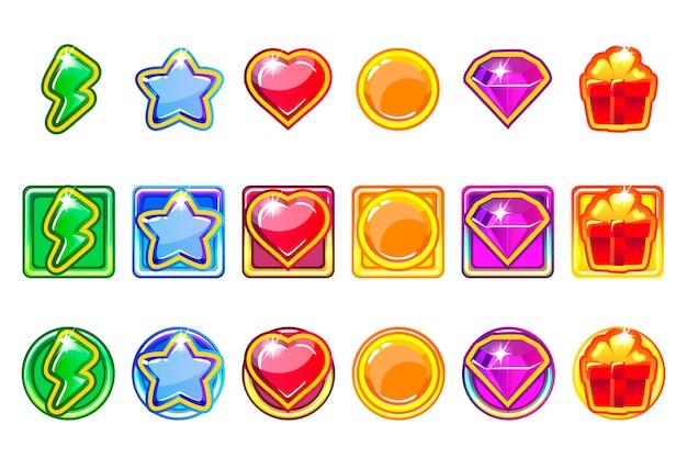 App jogo colorido ícones definido para interface do usuário