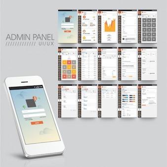 App móvel com diferentes painéis de administração