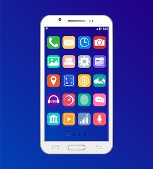 App no smartphone. interface da área de trabalho no telefone.