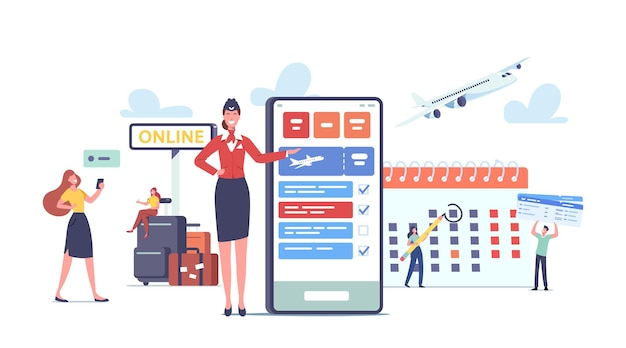 App para turistas concept. personagens felizes vão viajar, reservar passagens de avião usando o telefone celular. passageiros com bagagem perto de enorme celular com aplicativo de viagem. ilustração em vetor desenho animado