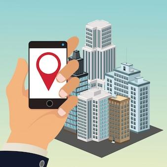 App smartphone tablet main building smart city icon