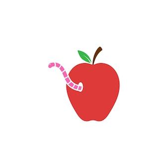 Apple com ilustração em vetor modelo de design de ícone de minhoca