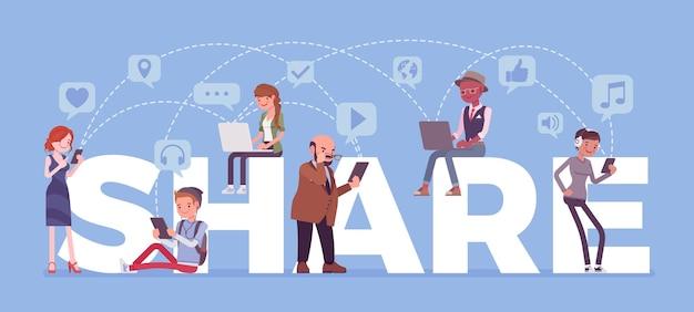 Apps para compartilhar arquivos de dados e jogos com amigos. letras gigantes, grupo de diversas pessoas com smartphone, laptop, computador, tablet usam o aplicativo para se comunicar. ilustração em vetor estilo simples dos desenhos animados