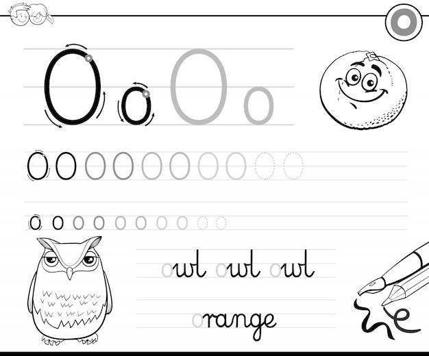 Aprenda a escrever a caixa de notas da letra o para crianças