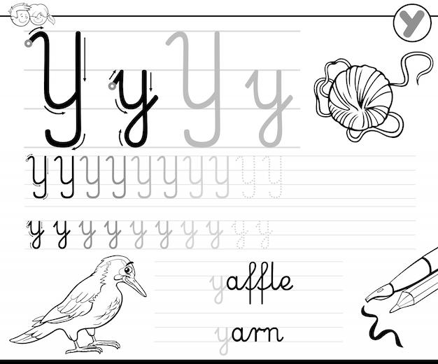 Aprenda a escrever a folha de notas da letra y para crianças