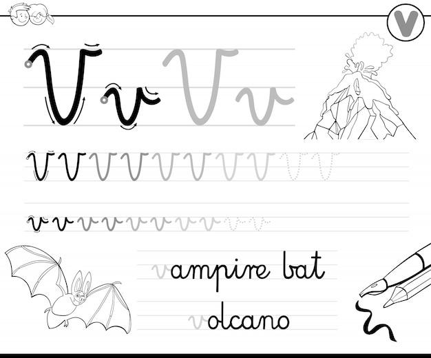 Aprenda a escrever a pasta de trabalho da letra v para crianças
