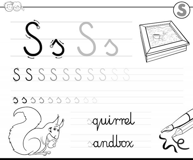 Aprenda a escrever o livro de notas da letra s para crianças