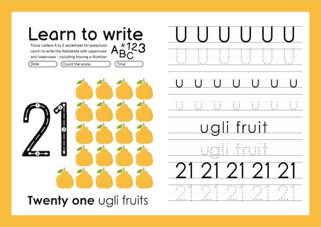 Aprenda a escrever planilha de rastreamento de alfabeto e números de rastreamento com ugli fruit