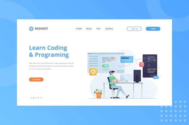 Aprenda a ilustração de codificação e programação para o conceito de comércio eletrônico na página inicial