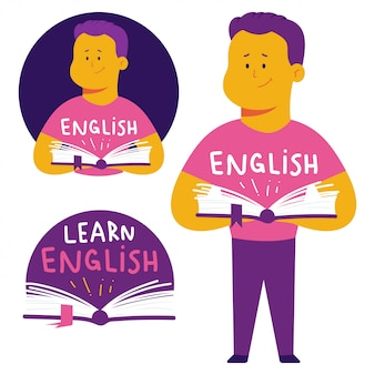 Aprenda a ilustração do conceito de língua inglesa com homem e livro.