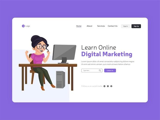 Aprenda a página de destino de marketing digital online
