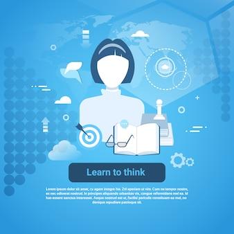 Aprenda a pensar modelo web banner com cópia espaço