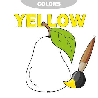 Aprenda as cores. jogo educativo para colorir a pera com o amarelo - ilustração vetorial