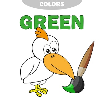 Aprenda as cores - verde. página de livro para colorir para crianças pré-escolares com pássaros. ilustração vetorial para educação infantil e desenvolvimento infantil.