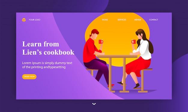 Aprenda com a página de destino do livro de receitas de lien com menino e menina tomando café na mesa do restaurante.