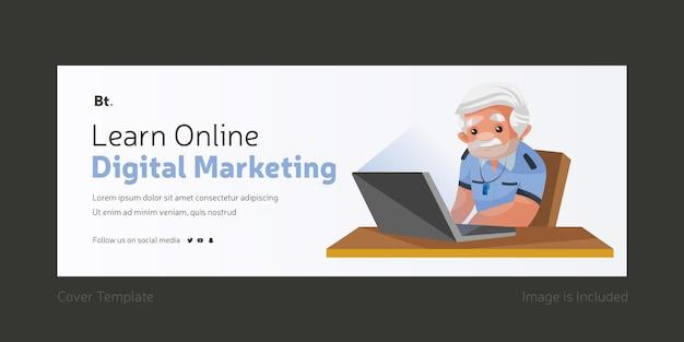 Aprenda marketing digital online design da capa do facebook