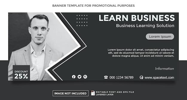 Aprenda modelo de banner de tema de negócios