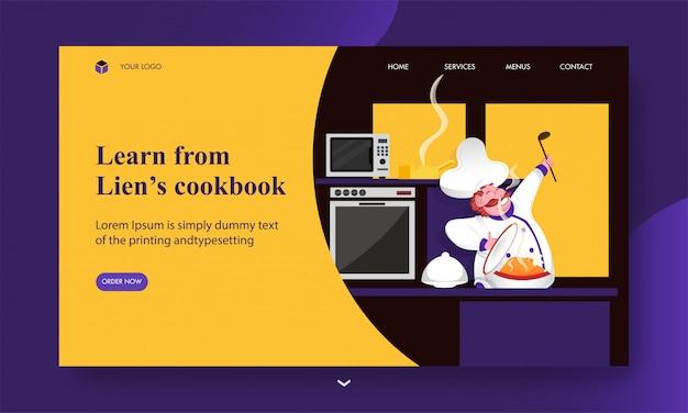Aprenda na página de destino do livro de receitas da lien com o personagem do chef apresentando frango na vista da cozinha.