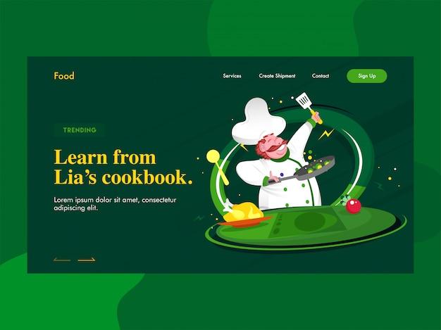 Aprenda na página de destino do livro de receitas da lien com o personagem do chef cozinhando em verde.