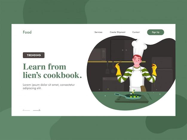 Aprenda na página de destino do livro de receitas do lien com o personagem do chef cozinhando na cozinha.
