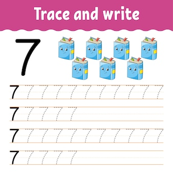 Aprenda números. rastreie e escreva. de volta à escola. prática de caligrafia.