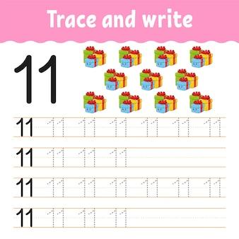 Aprenda números. rastreie e escreva.