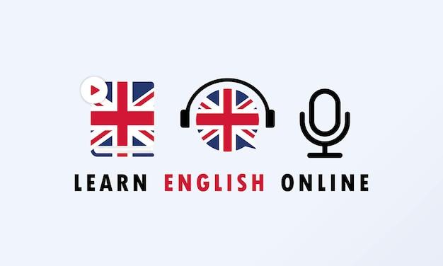 Aprenda o banner online em inglês. curso digital. educação online. cursos de línguas online. vetor