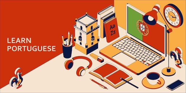Aprenda o conceito isométrico português com laptop aberto, livros, fones de ouvido e café