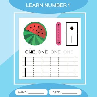 Aprenda o número 1. um. jogo educativo para crianças. vamos rastrear o número 1 e escrever. jogo de contagem.