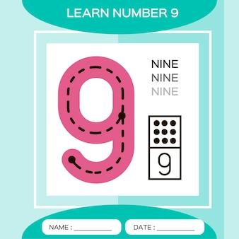 Aprenda o número 9. nove. jogo educativo para crianças. jogo de contagem.