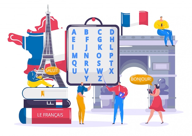 Aprendendo a língua francesa, os alunos pequenos dos desenhos animados aprendem a entender francês na escola, tecnologia educacional