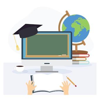Aprendendo com o conceito de casa, aprendizagem online, videochamada de e-learning. aprendizagem remota. ilustração dos desenhos animados 2d do vetor plana.