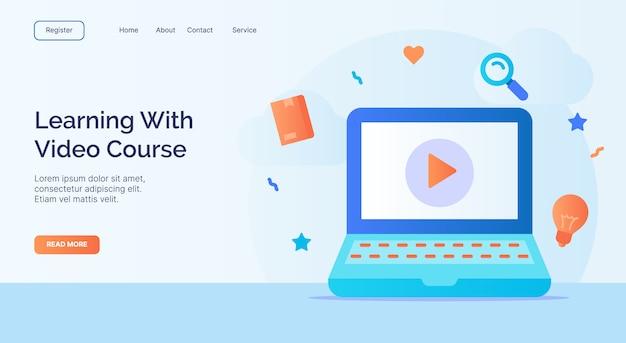 Aprendendo com o curso em vídeo para o modelo de página de aterrissagem da página inicial da web site de campanha com design de estilo plano moderno colorido a cores.