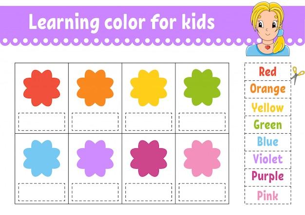 Aprendendo cores para as crianças. planilha de desenvolvimento de educação. página de atividade com imagens coloridas.