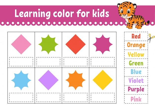 Aprendendo cores para as crianças. planilha de desenvolvimento de educação.