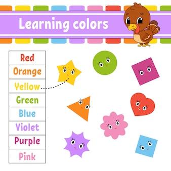 Aprendendo cores. planilha de desenvolvimento de educação. página de atividade com fotos. jogo para crianças. ilustração vetorial isolado personagem engraçada. estilo dos desenhos animados.