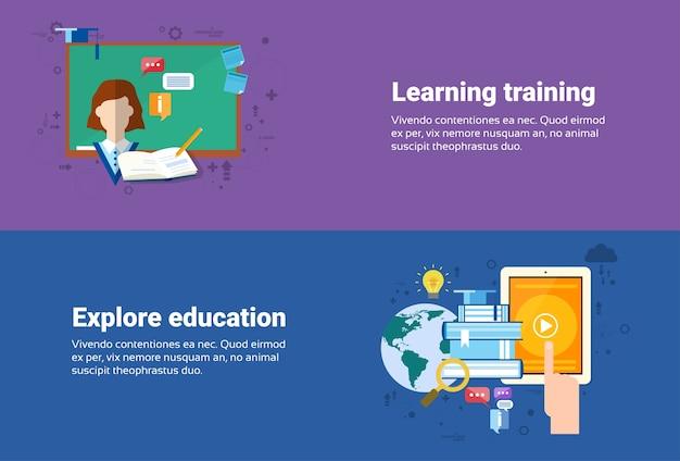 Aprendendo cursos de treinamento educação web banner ilustração vetorial plana