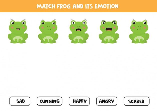 Aprendendo emoções e sentimentos. adivinhe as emoções dos sapos.