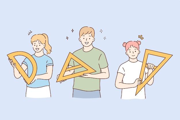 Aprendendo geometria e o conceito de estilo de vida escolar.