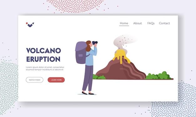 Aprendendo informações geológicas, modelo de página de aterrissagem de desastres naturais de estudo. cientista vulcanologista ou turista personagem feminina com binóculos olhar na erupção do vulcão. ilustração em vetor de desenho animado