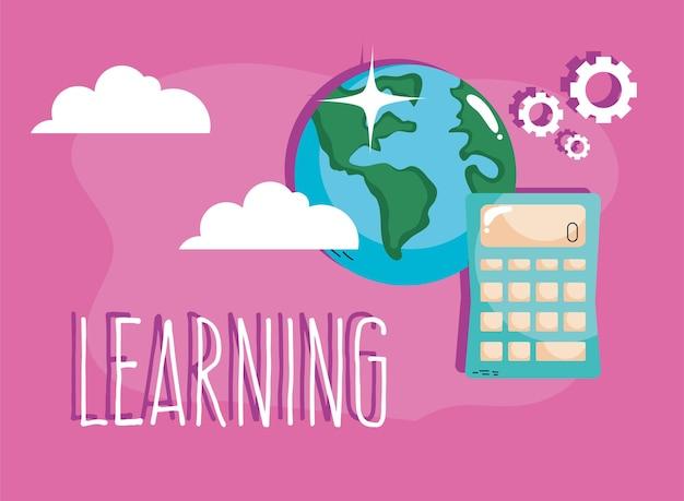 Aprendendo letras com calculadora e terra