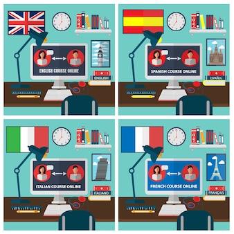 Aprendendo língua estrangeira online