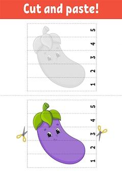 Aprendendo números 1-5. corte e cole. personagem de berinjela.