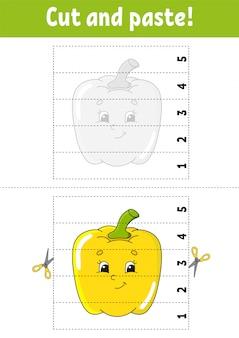 Aprendendo números 1-5. corte e cole. personagem de pimenta. planilha de desenvolvimento de educação.