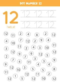 Aprendendo números com crianças. número doze. pontilhe todos os números 12. jogo de matemática para crianças.
