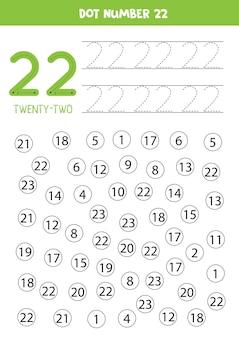 Aprendendo números com crianças. número vinte e dois. pontilhe todos os números 22. jogo de matemática para crianças.