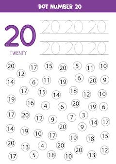 Aprendendo números com crianças. número vinte. pontilhe todos os números 20. jogo de matemática para crianças.