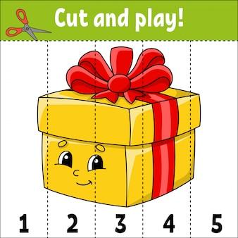 Aprendendo números. cortar e brincar. planilha de desenvolvimento de educação. jogo para crianças.